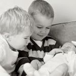 Griffin and Kade with new brother Trace